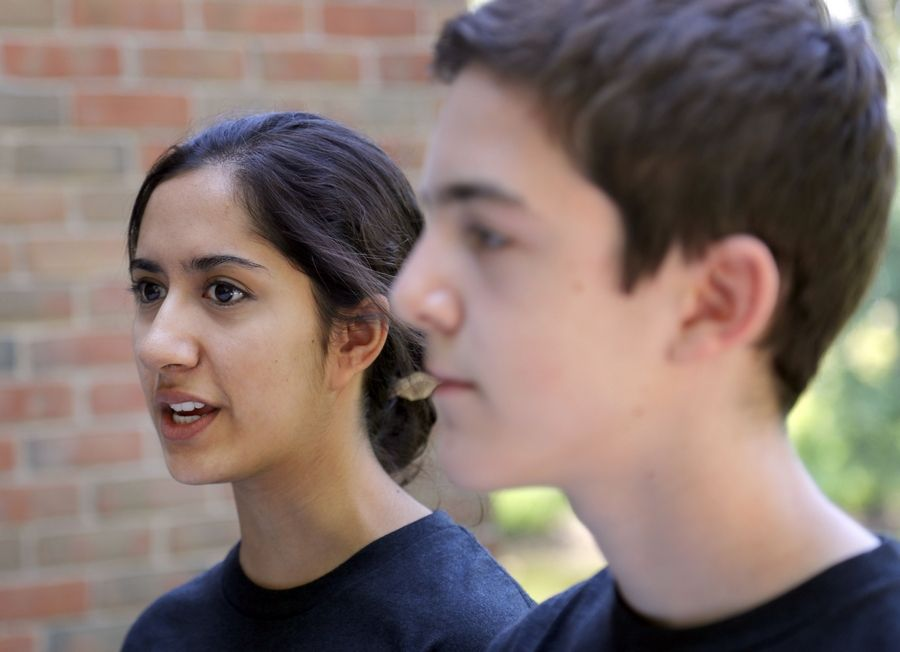 Vrushali Thakkar, 17, of Vernon Hills, and Carson Ezell, 16, of Buffalo Grove are leaders of the Catalyst club at Stevenson High School, which is working to prevent teens from using marijuana as adult use legalization nears.