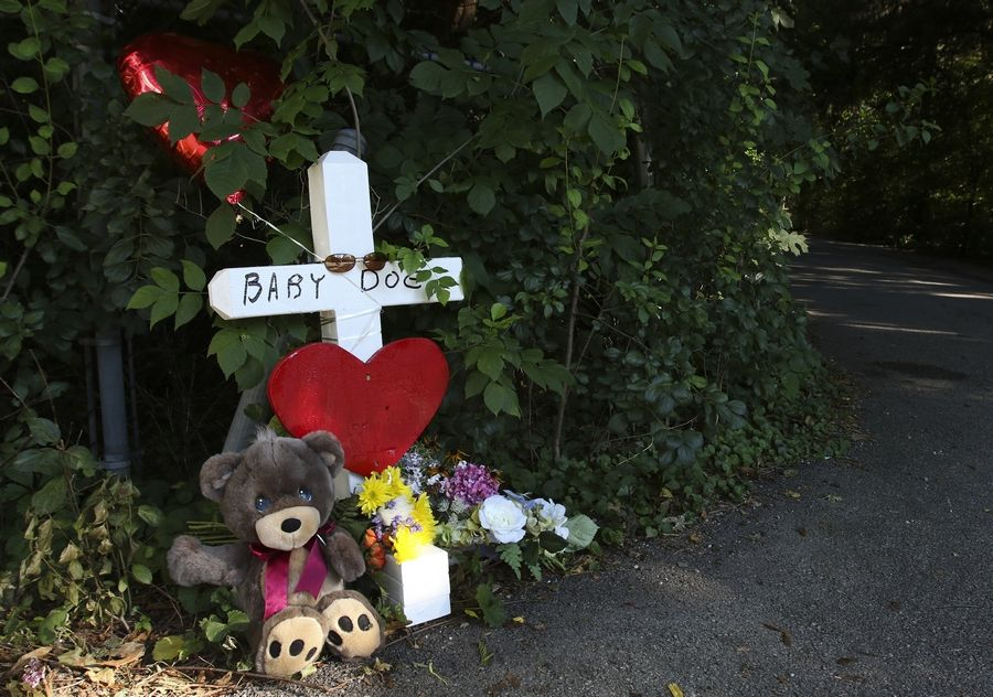 A cross was placed three years ago at the site where a baby's body was found near Wheaton.