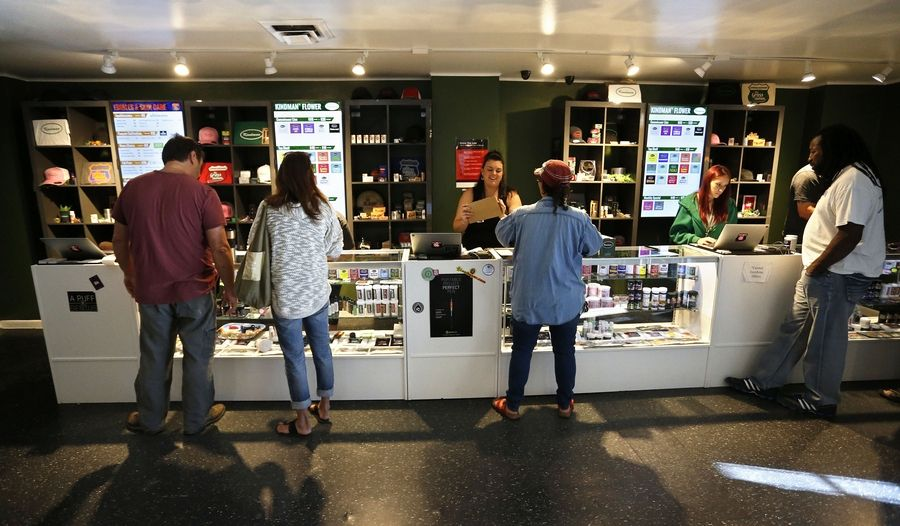 Grayslake village board members will vote on whether to ban recreational marijuana stores, like the one seen here in Colorado, for a year. Under Illinois' new marijuana law, which takes effect Jan. 1, municipalities can choose not to allow the stores.