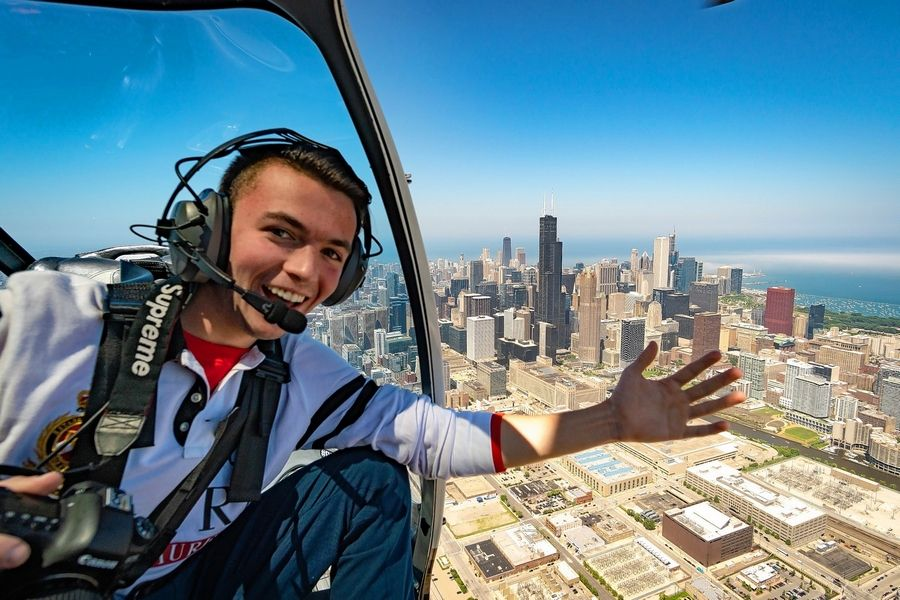 Jack Gillespie takes a break from his assignment shooting photos for Vertiport Chicago VIP Helicopter Tours.