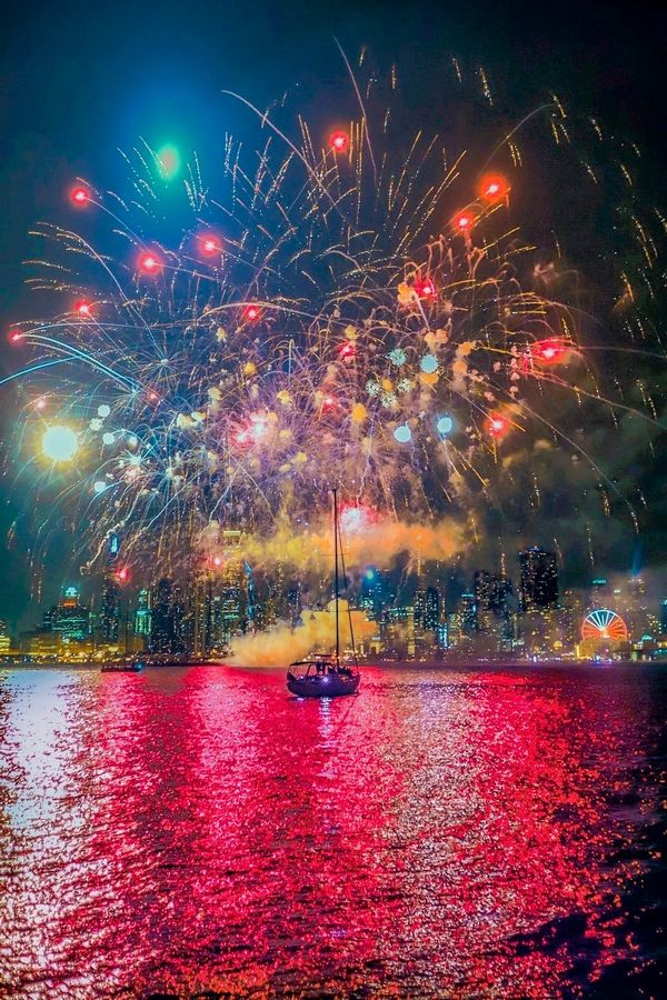 Jack Gillespie captures a spray of colors during a Navy Pier fireworks display while on a boat tour.