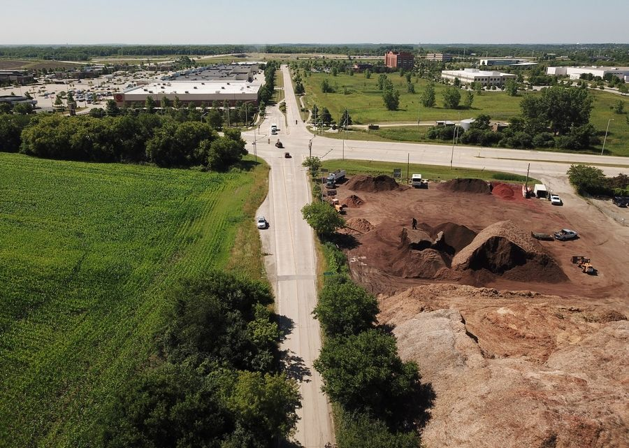 Hoffman Estates is proposing a TIF district for an area of the dormant Plum Farms development proposal at the northwest corner of routes 59 and 72. This view looks south toward Higgins Road, with Old Sutton Road at the center of the image.