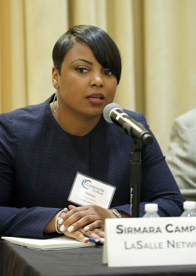 Sirmara Campbell of LaSalle Network speaks during the Corporate Culture forum sponsored by Business Ledger and HR Source at Meridian Banquets in Rolling Meadows Thursday morning.