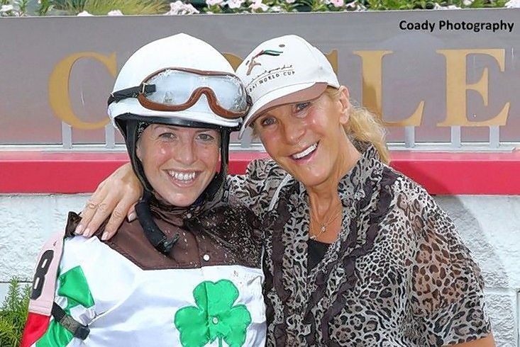 Courtesy of Arlington International/Coady PhotographySophie Doyle, left, got her start as a jockey in England, where her mother Jacqui Doyle, right, was a trainer and a jump rider. Doyle will be the sixth female to ride in the Arlington Million when she pilots Catcho En Die on Saturday.