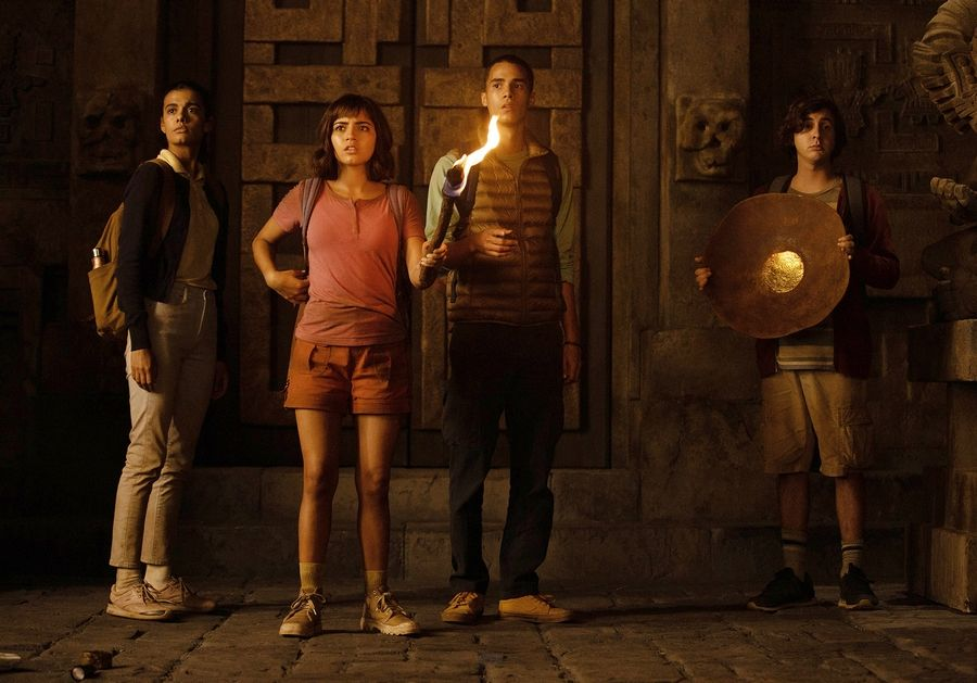 "Dora (Isabela Moner), second from left, is kidnapped along with three other teens (Madeleine Madden, Jeff Wahlberg and Nicholas Coombe) in ""Dora and the Lost City of Gold."""