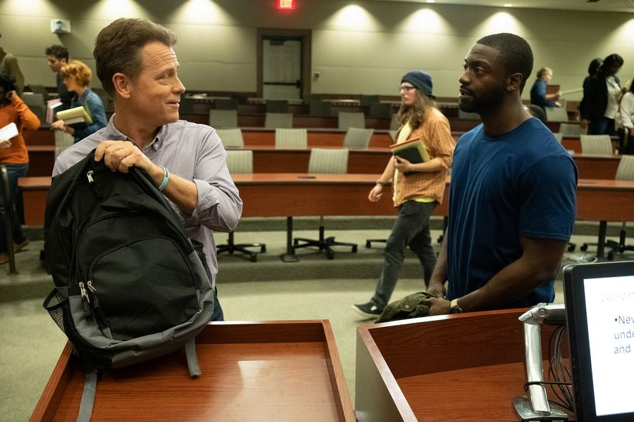 "A wrongly accused man (Aldis Hodge), right, seeks help from an attorney (Greg Kinnear) with the California Innocence Project in ""Brian Banks."""
