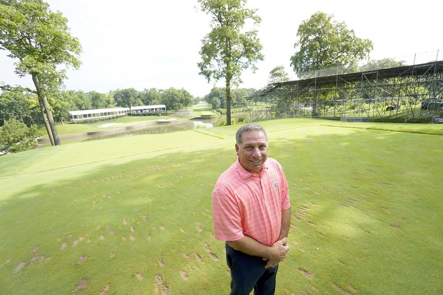 At the 17th tee, pros will have to carry their shots over Lake Kadijah from about 185 to 190 yards, says Marty DeAngelo, the director of golf at Medinah Country Club, the venue for the second stage of the FedExCup playoffs.