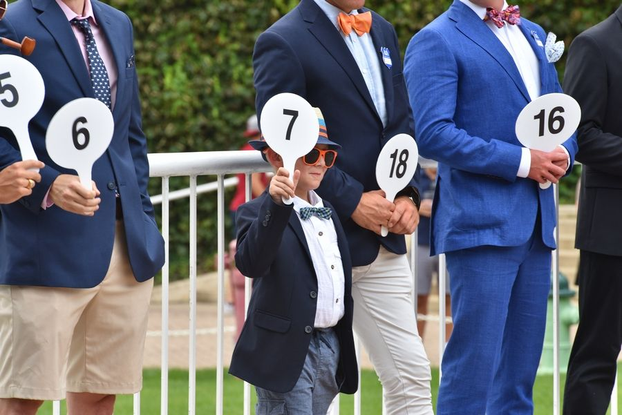 Even little guys like Jackson Vancurran, 7, of Arlington Heights, get to compete in the best-dressed contest on Arlington Million Day. He went on to win the male category at last year's event.