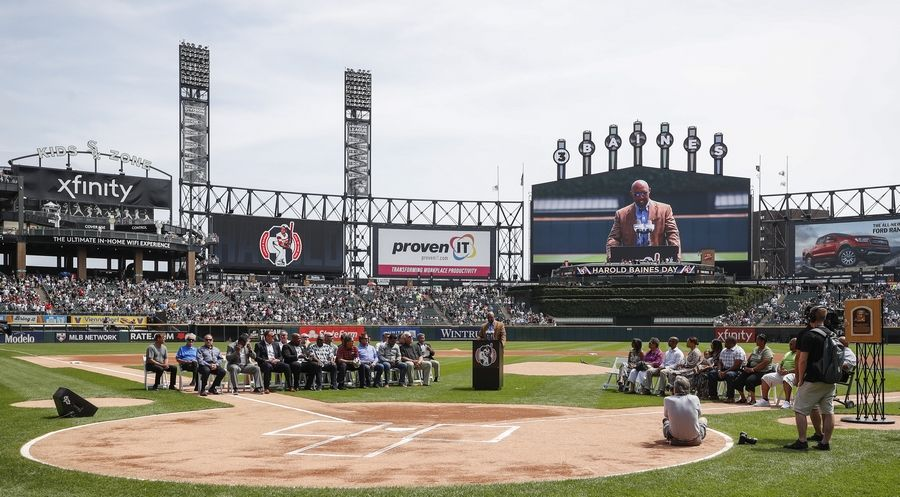 Former Chicago White Sox player Harold Baines speaks during a ceremony reflecting his Hall of Fame induction prior to a baseball game between the Chicago White Sox and Oakland Athletics, Sunday, Aug. 11, 2019, in Chicago.