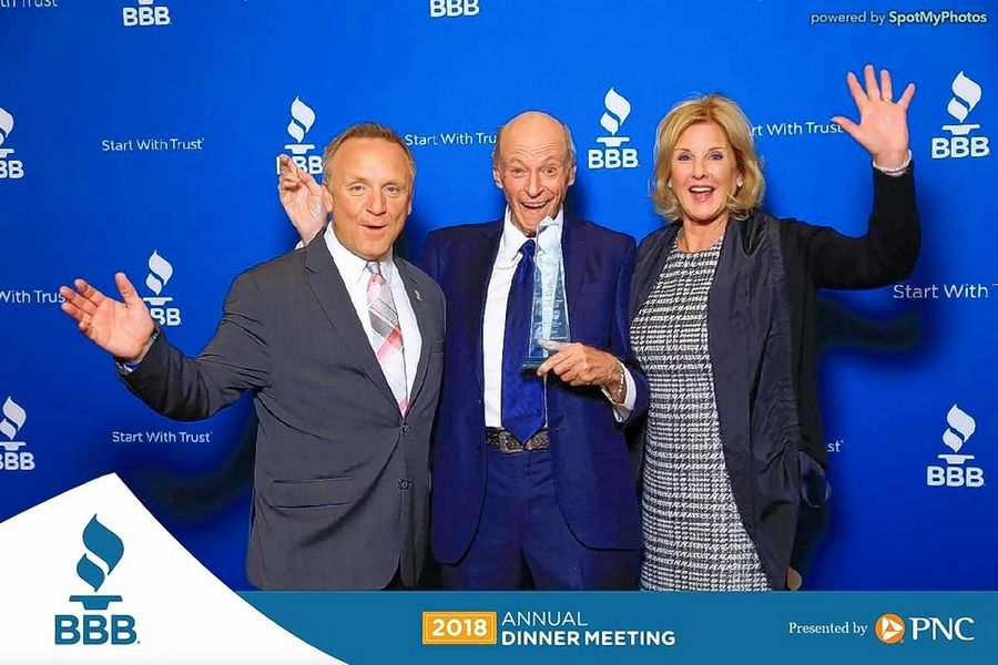 Robert Marcocchio, center, on the night he received the 2018 Torchbearer of the Year Award from the Better Business Bureau of Chicago and Northern Illinois. On the left is Steve Bernas, president and chief executive officer of the BBB. To the right is Marcocchio's wife, Lynn.