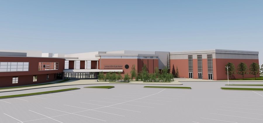 A rendering of Vernon Hills High School's expansion involving eight new classrooms, a larger cafeteria, a second gymnasium, a new dance studio and a science and technology lab.