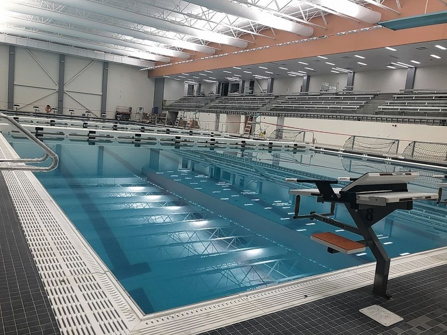 Construction of a new aquatic center at Libertyville High School is nearly complete and is projected to be ready in time for classes. A dedication/celebration is being planned.