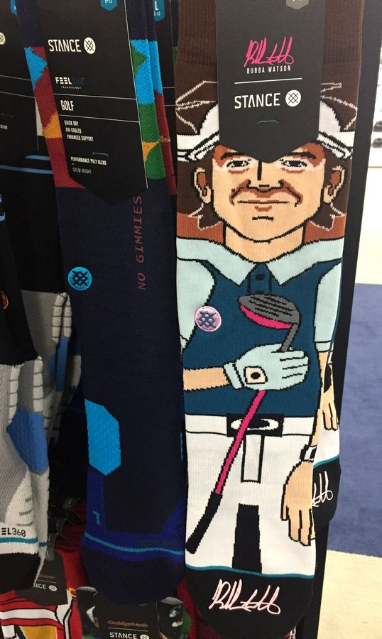 Bubba Watson fans can buy a pair of $17.99 socks with his likeness, one of the more offbeat items in the BMW Championship merchandise tent.