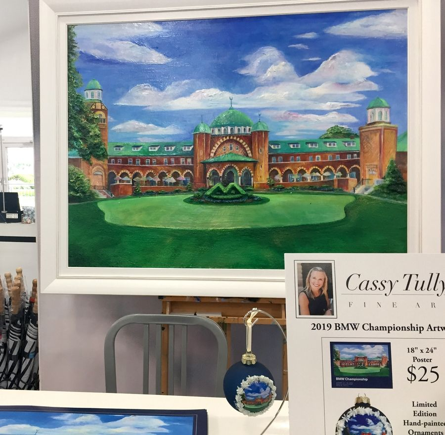 A painting of Medinah's clubhouse is featured front and center in the BMW Championship merchandise tent. The artist, Cassy Tully, will be signing reprints throughout tournament week.