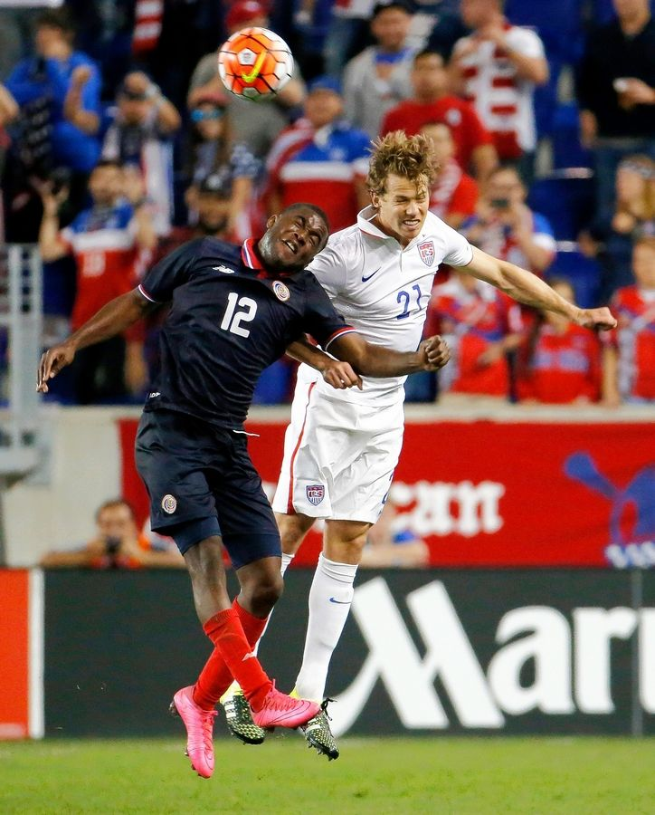 Costa Rica's Joel Campbell, left, and Jonathan Spector of the U.S. compete for the ball during an international soccer friendly match in 2015 in Harrison, N.J.