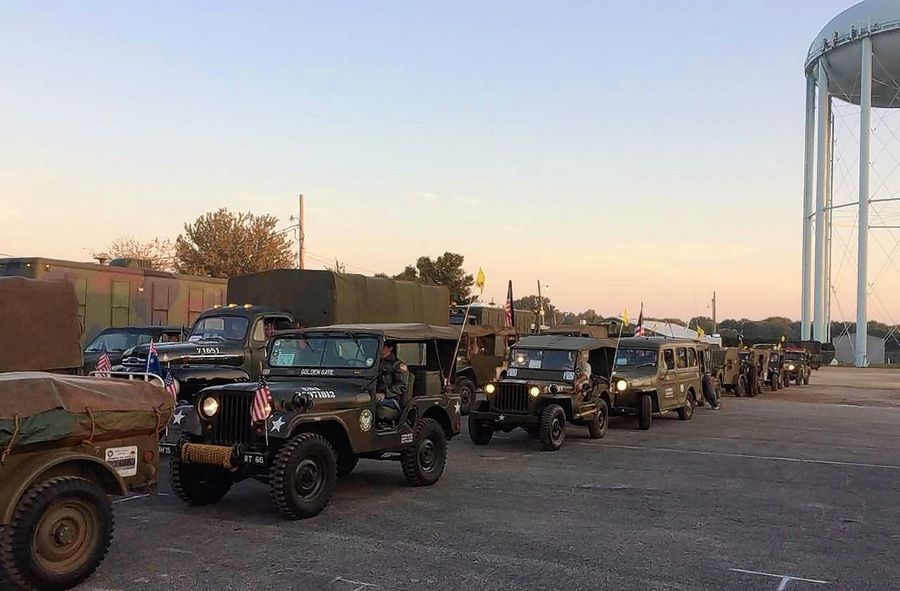 The owners of the military vehicles will camp for two nights at the DuPage County Fairgrounds in Wheaton.