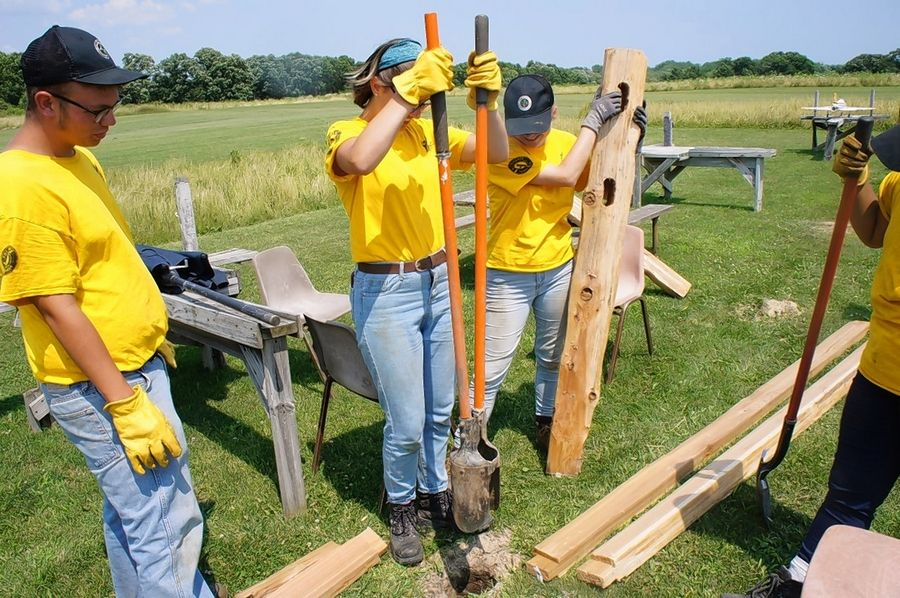 A YCC crew spent time this summer replacing a split rail fence at the model airplane lot at Van Patten Woods Forest Preserve in Wadsworth.