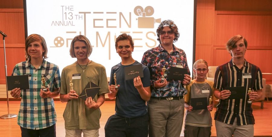 Award winners from last week's Teen Film Fest at the Arlington Heights Memorial Library include, from left, Geoffrey Buck for best editing, Hayden Westerfield for best acting, Graham Reid for best screenplay/story, David Petratos for best special effects, Madeline Painter for audience favorite, and Edin Ramovic for best overall film.