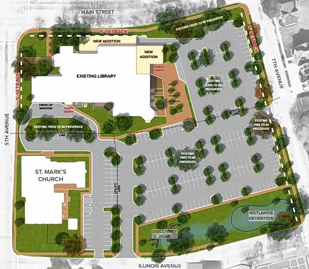A larger, reconfigured parking lot, two new building wings and additional green space are included in plans to improve the St. Charles Public Library property.
