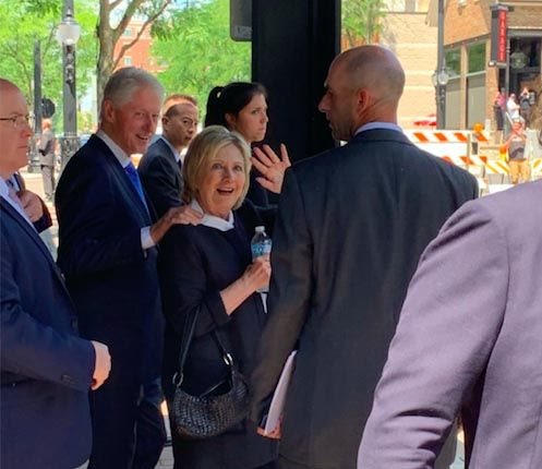 Bill and Hillary Clinton were spotted Saturday in downtown Arlington Heights, where they attended the services for their friend Betsy Ebeling at Metropolis Ballroom. Later, the Clintons attended a luncheon at Tuscany in Wheeling, and dinner on the North Shore.
