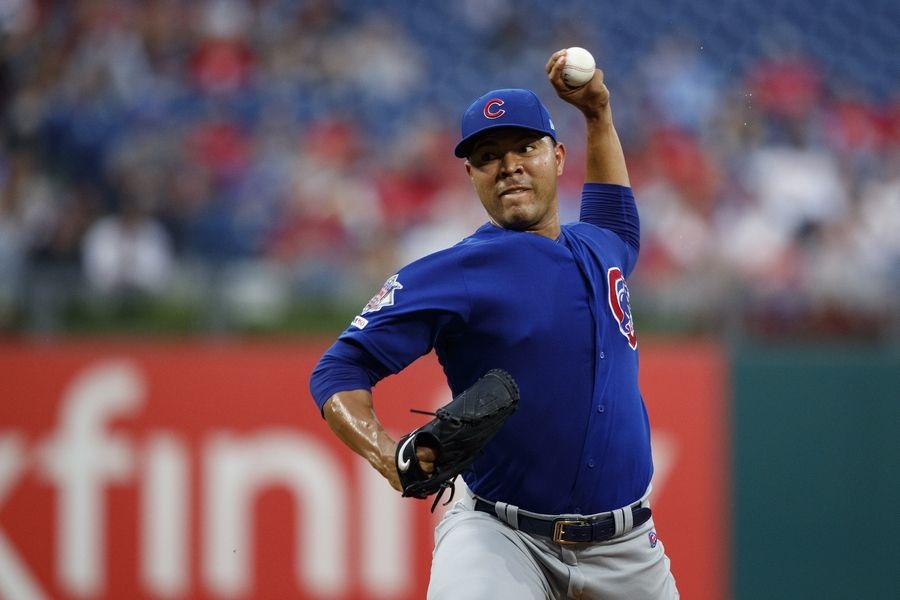 Chicago Cubs' Jose Quintana pitches during the first inning of a baseball game against the Philadelphia Phillies, Tuesday, Aug. 13, 2019, in Philadelphia.