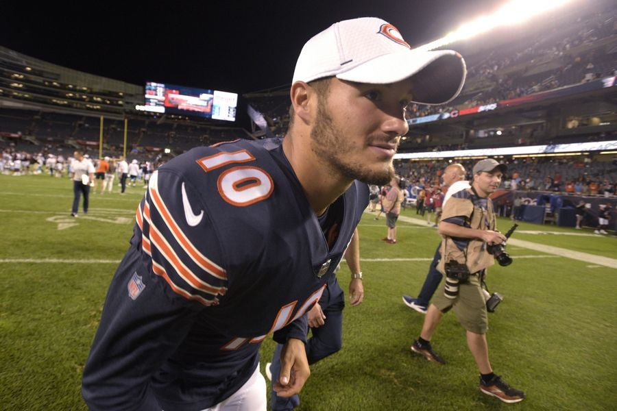 Chicago Bears quarterback Mitchell Trubisky heads off the field after the Bears' 23-13 loss to the Carolina Panthers an NFL preseason football game Thursday, Aug. 8, 2019, in Chicago.