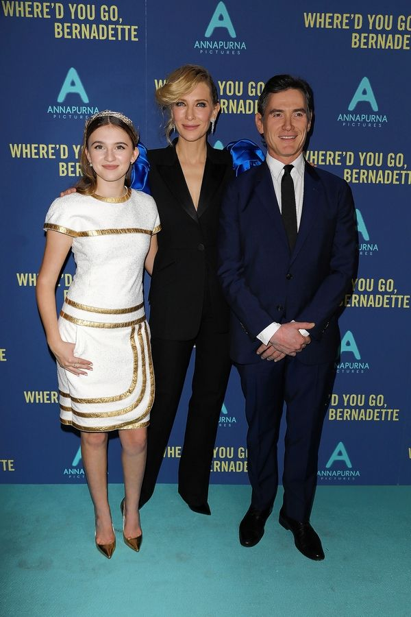 "Barrington teen Emma Nelson, left, poses in New York with Billy Crudup and Cate Blanchett, who play her parents in the new movie ""Where'd You Go, Bernadette,"" opening this week."
