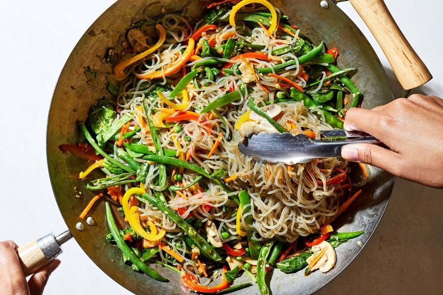 Korean Glass Noodle and Vegetable Stir-Fry (Japchae).