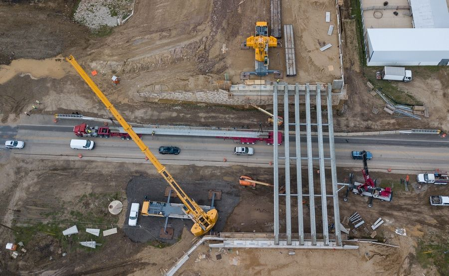 Bridge beams for Longmeadow Parkway are installed Wednesday over Route 31 in Carpentersville.
