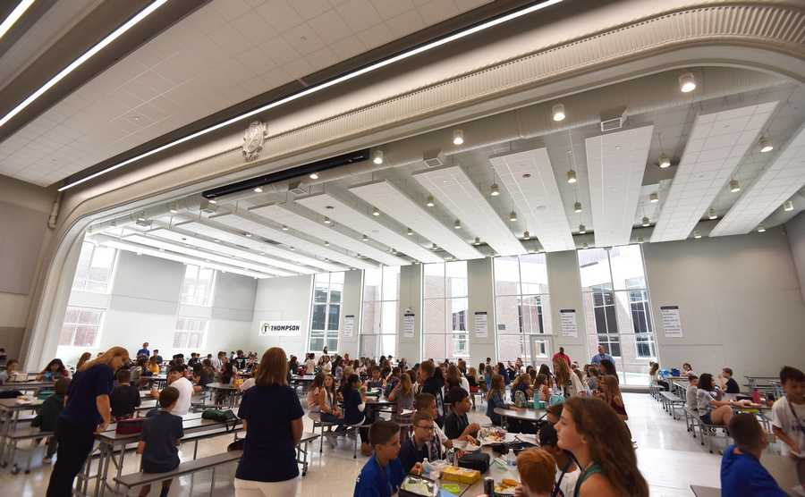 The new cafeteria space was the original theater and the stage columns and header remain, along with new floor-to-ceiling windows at Thompson Middle School in St. Charles Wednesday.