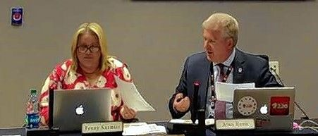 Barrington Area Unit District 220 Board President Penny Kazmier, left, and Superintendent Brian Harris during a board of education discussion of a proposed March 2020 referendum earlier this summer.
