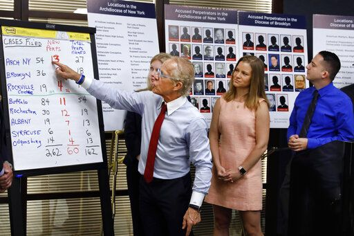 Attorney Jeff Anderson, left, points to a chart of sexual abuse perpetrators as sexual abuse victims Birdie Farrell, center, and Joseph Caramanno watch during a news conference, in New York, Wednesday, Aug. 14, 2019. Wednesday marked the start of a one-year litigation window in New York allowing people to file civil lawsuits that had previously been barred by the state's statute of limitations, which was one of the nation's most restrictive before lawmakers relaxed it this year.