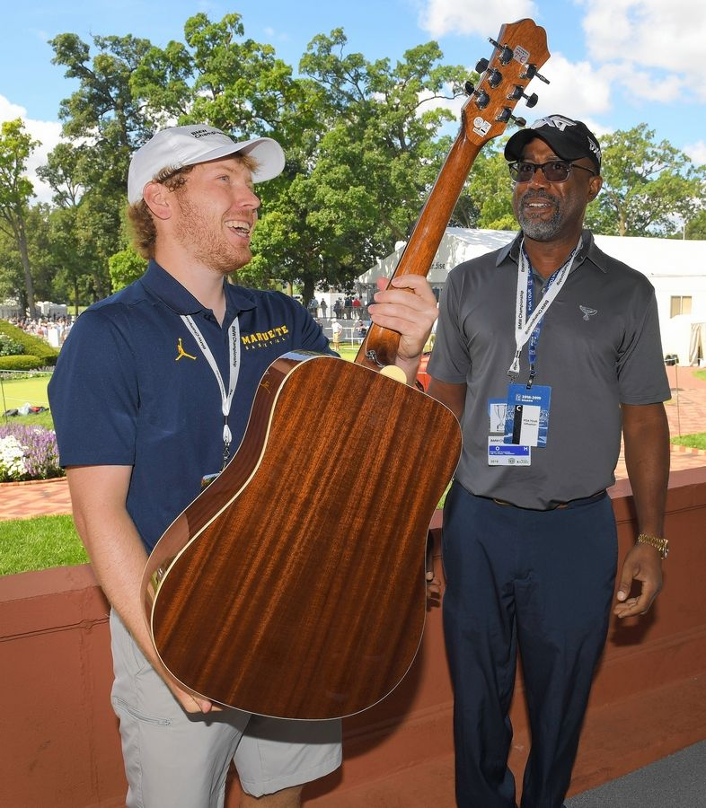 """I just definitely told him that I look up to him and people like him that are just out there doing their thing with music,"" Evans Scholar Noah Enright said of meeting Darius Rucker, the Hootie and the Blowfish singer and solo country star."