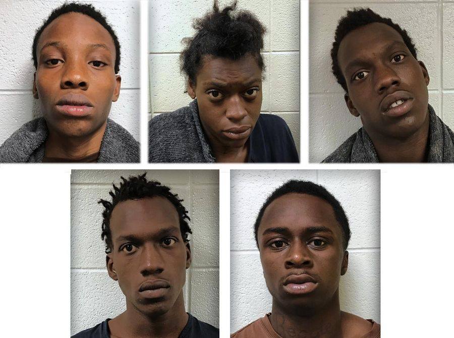 Upper from left, Kendrick Cooper, Diamond Davis, Stacey Davis and lower from left, Steven Davis and Curtis Dawson are charged in the Aug. 13, 2019 shooting where their 14-year-old accomplice was shot and killed by a homeowner as authorities say the six were attempting to steal the homeowner's car near Old Mill Creek in Lake County.