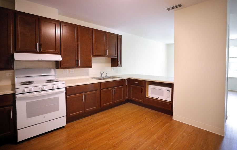 Some kitchens at Heart's Place in Arlington Heights feature low countertops for residents who use wheelchairs.