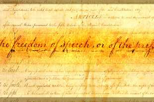 "Photo Illustration by Patrick Kunzer/pkunzer@dailyherald.com The United States Bill of Rights features a passage in the First Amendment on ""the freedom of speech or of the press"""