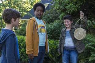 "Jacob Tremblay, left, as Max, Keith L. Williams as Lucas and Brady Noon as Thor in the film, ""Good Boys."""