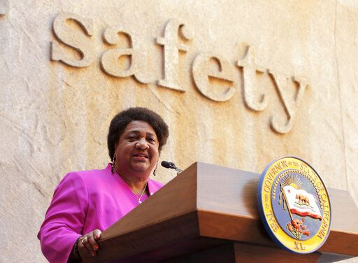 Assemblywoman Shirley Weber, D-San Diego, discusses her measure that limits the use of lethal force by law enforcement, during a bill signing ceremony in Sacramento, Calif., Monday, Aug. 19, 2019. Gov. Gavin Newsom signed Weber's bill, AB392, that would bar police from using lethal force unless it is necessary to prevent imminent threat of death or serious injury to themselves and others.