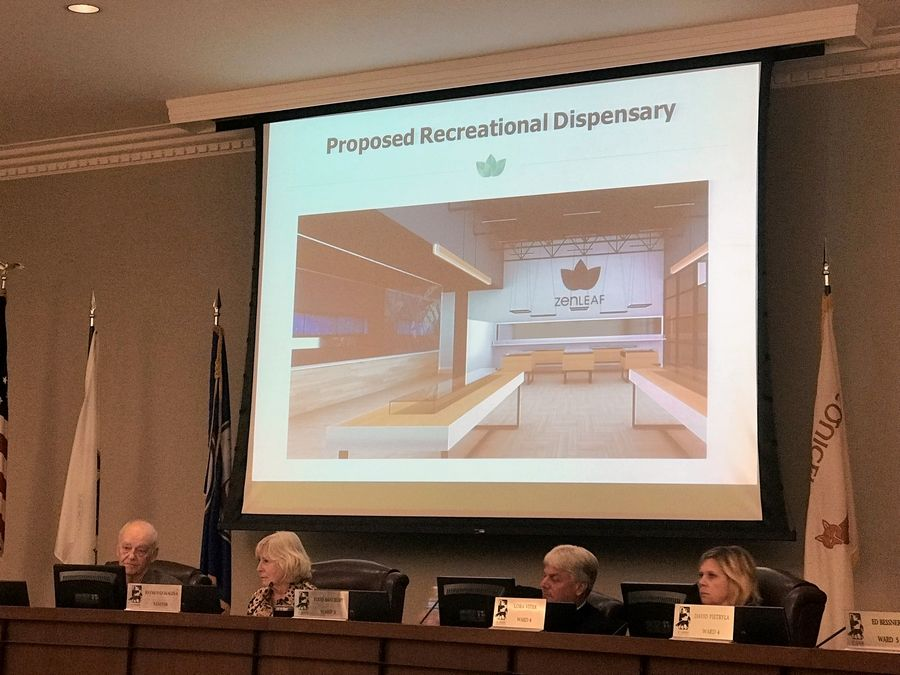 St. Charles aldermen on Monday review a rendering of a proposed recreational cannabis facility presented by Zen Leaf, a medical marijuana dispensary that wants to expand its operations when a new state law goes into effect Jan. 1.