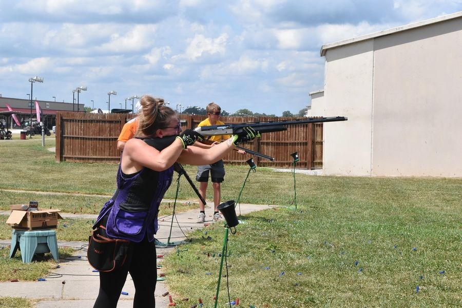 Lisa Palazzo of St. Charles takes her turn at shooting clay targets at the recent World Shooting Complex in Sparta.