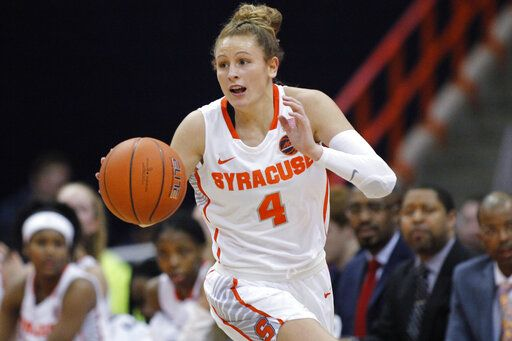 "FILE - In this Jan. 23, 2019, file photo, Syracuse's Tiana Mangakahia dribbles down court in the second quarter of an NCAA basketball game against Miami in Syracuse, N.Y. Mangakahia is halfway through treatment for breast cancer and says she often wonders ""Why me?� One of the top women's basketball players in the country and a player who nearly elected to enter the WNBA draft, the star from Australia says the feedback from doctors has been good and she'll receive more tests Friday updating the status of her recovery."