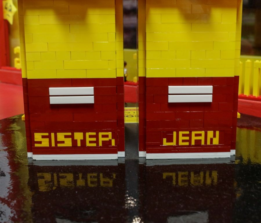 The back of the shoes of the Sister Jean LEGO model.