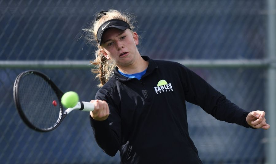 Joe Lewnard/jlewnard@dailyherald.comMegan Heuser of Lakes plays during the Class 1A singles championship match of the girls state tennis finals at Buffalo Grove High School last season.