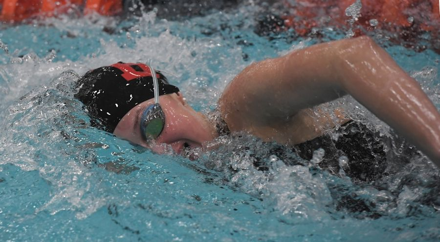Barrington's Maggie Graves swims in the 500-yard freestyle during the girls state swimming finals at Evanston High School last season. Graves returns to lead the Fillies this fall.