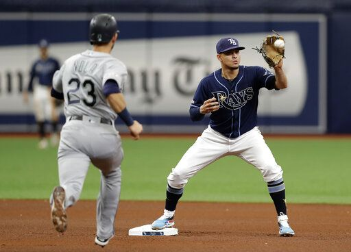 Tampa Bay Rays shortstop Willy Adames forces Seattle Mariners' Austin Nola (23) at second base on a fielder's choice by Kyle Seager during the fourth inning of a baseball game Wednesday, Aug. 21, 2019, in St. Petersburg, Fla.