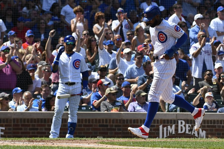 Chicago Cubs Jason Heyward (22) scores during the fourth inning of a baseball game against the San Francisco Giants Thursday, Aug. 22, 2019, in Chicago.