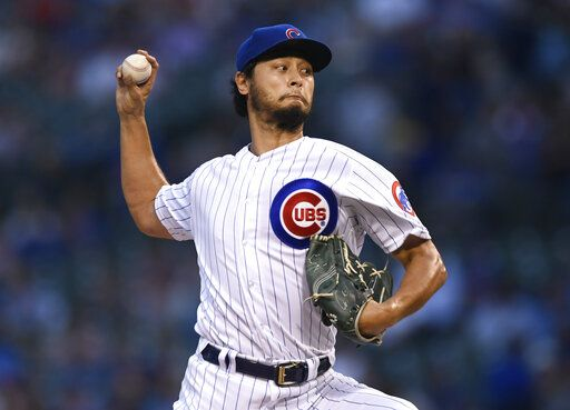 Chicago Cubs starter Yu Darvish delivers a pitch during the first inning of the team's baseball game against the San Francisco Giants on Wednesday, Aug 21, 2019, in Chicago.