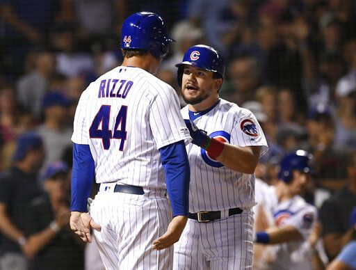 Chicago Cubs' Kyle Schwarber, right, celebrates with Anthony Rizzo (44) at home plate after hitting a two-run home run during the third inning of the team's baseball game against the San Francisco Giants on wWednesday, Aug 21, 2019, in Chicago.