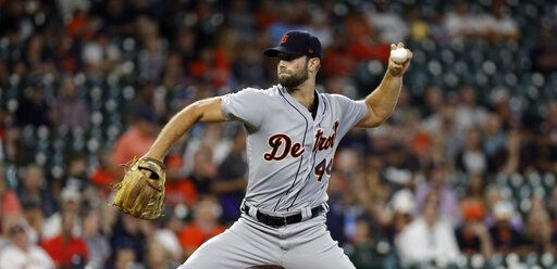 Detroit Tigers starting pitcher Daniel Norris throws against the Houston Astros during the first inning of a baseball game Wednesday, Aug. 21, 2019, in Houston.