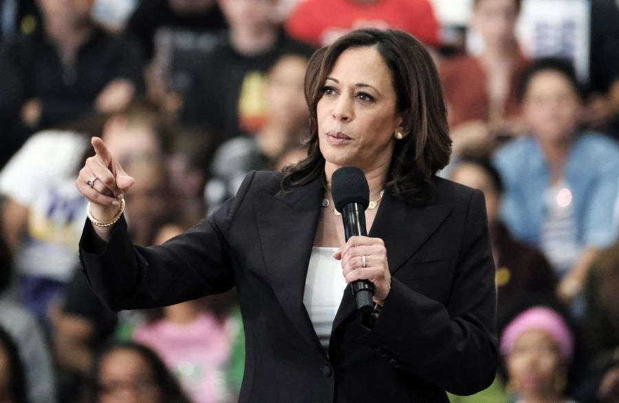 Democratic presidential candidate Sen. Kamala Harris talks during her first campaign organizing event in Los Angeles.